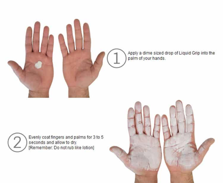 How to apply liquid chalk to your hands