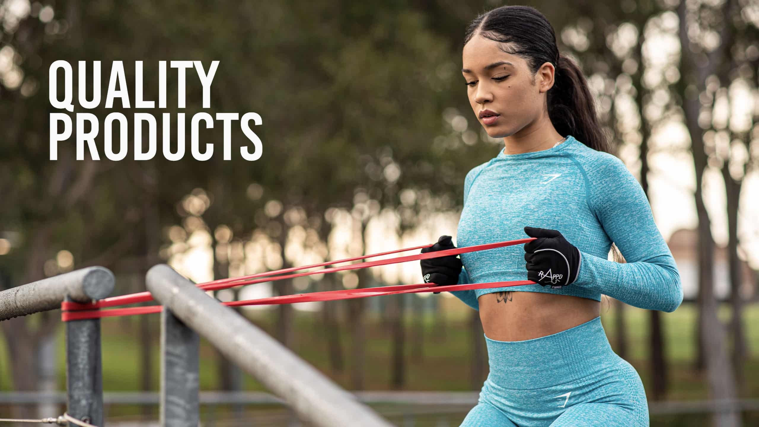 Rappd Quality Products banner with woman using resistance bands