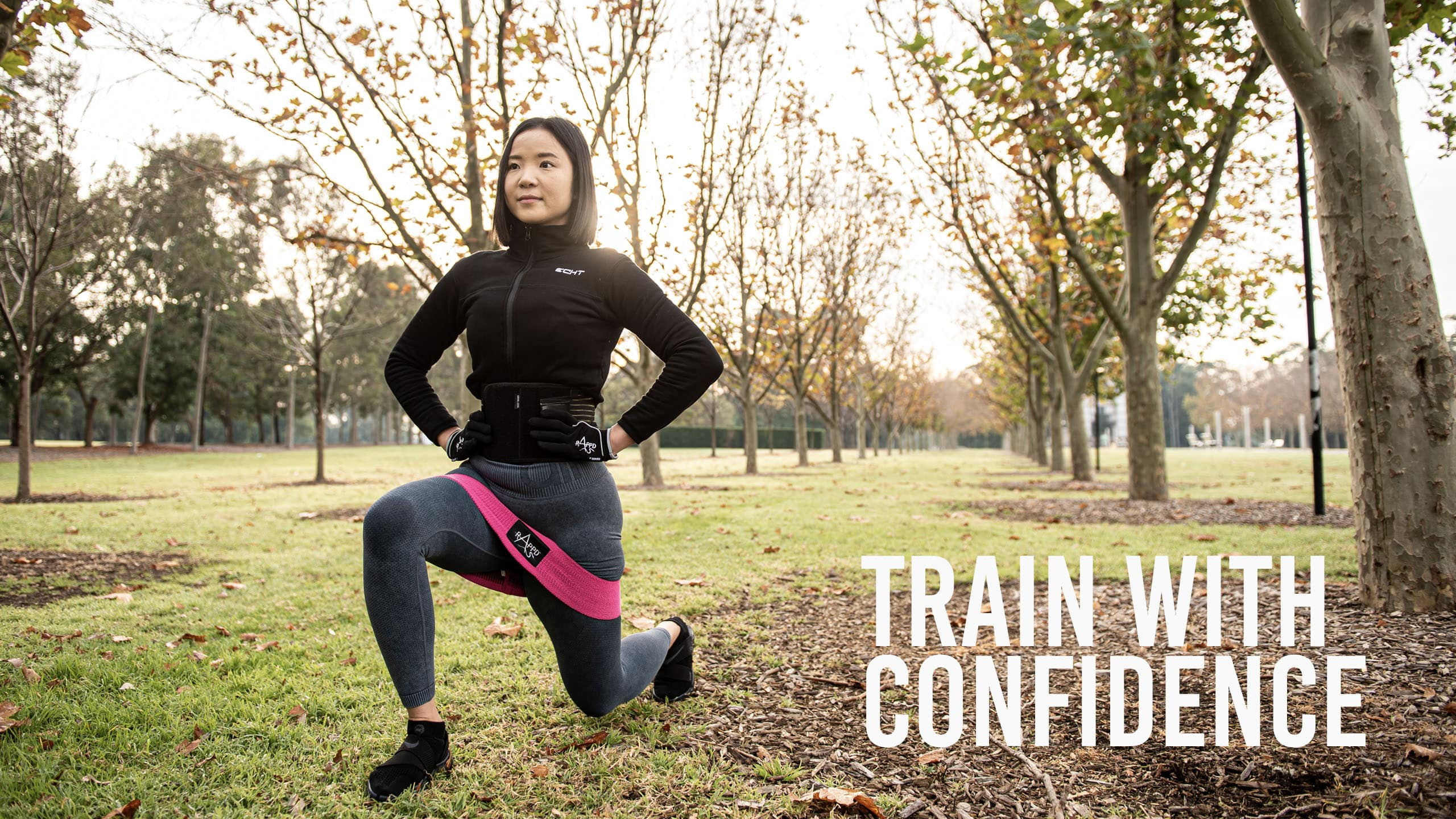 Rappd Train With Confidence banner with woman using resistance bands